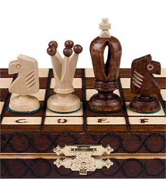 "Wegiel Chess Set - Royal 30 European Wooden Handmade International Chess Set - 11-3/4"" x 11-3/4"""