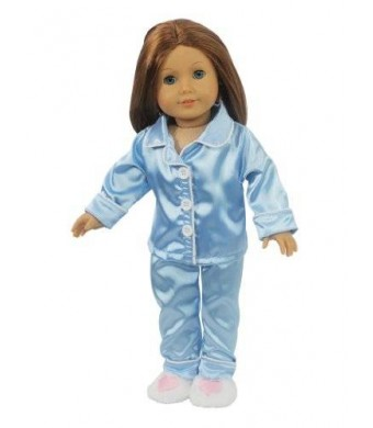 """Doll Clothes for American Girl Dolls: 3 Piece """"Sleepy Time"""" Blue Silk Pajamas with Heart Slippers Outfit - """"Dress Along Dolly"""""""