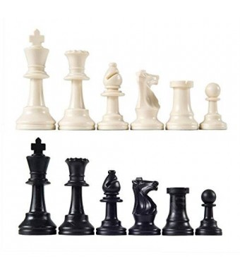 "Wholesale Chess Heavy Tournament Triple Weighted Chess Pieces with 3 3/4"" King"