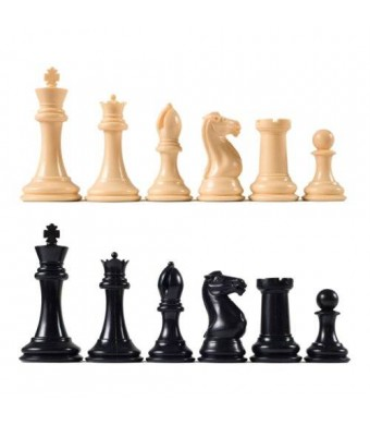 "Wholesale Chess Premier Tournament Chess Pieces with 4 1/8"" King - Natural and Black"