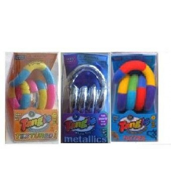 Set of 3 Assorted Tangle Jr. Fidget Toys - Fuzzy, Metallic and Textured