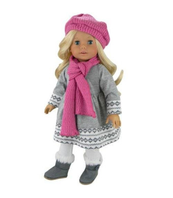 Doll Clothes 4 Pc. Outfit fit for 18 Inch American Girl Dolls and More! Grey Fair Isle Style Doll Sweater Dress, Leggings, Scarf and Doll Pink Hat