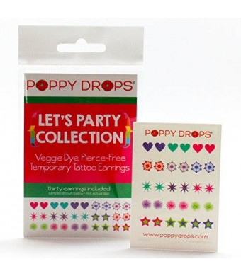 Poppy Drops Let's Party Collection - Veggie-Based Temporary Tattoo Earrings. Safe, Non-Toxic Ear Piercing Alternative.