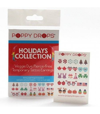 Poppy Drops Holidays Collection - Veggie-Based Temporary Tattoo Earrings. Safe, Non-Toxic Ear Piercing Alternative.