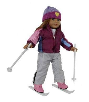 "Doll Clothes for American Girl Dolls: 7 Piece ""Let's Go Skiing"" Outfit - By ""Dress Along Dolly"" (Includes Shirt"