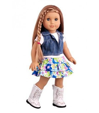 Feeling Happy - 4 piece outift -Colorful skirt with white t-shirt, blue jeans vest and white cowgirl boots - American Girl Doll Clothes