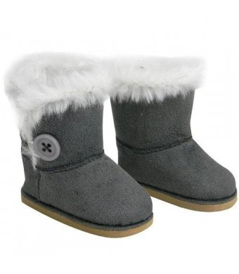 Sophia's Stylish 18 Inch Doll Boots. Fits 18 Inch American Girl Dolls and More! Doll Shoes of Gray Suede Style Boots W/ Button and White Fur