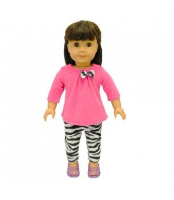 """Pink Butterfly Closet Doll Clothes - 2 Piece Clothing Shirt and Zebra Print Leggings Fits American Girl Dolls, Madame Alexander and Other 18"""" Dolls"""