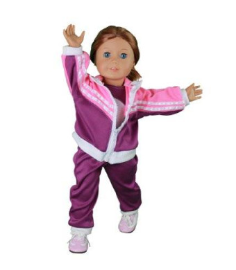 """Gymnastics Outfit for American Girl Dolls: 4 Piece Gymnastics Star Doll Clothes - """"Dress Along Dolly"""" (Includes Performance Leotard"""