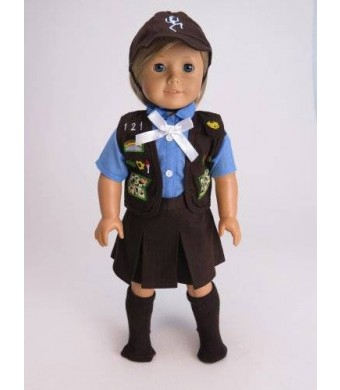 "American Fashion World 18"" Girl Scouts Brownie Outfit for American Girl Dolls."