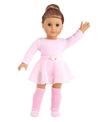 Practice Time - practice ballet outfit includes pink leotard and skirt, leg warmers and ballet slippers - American Girl Doll Clothes