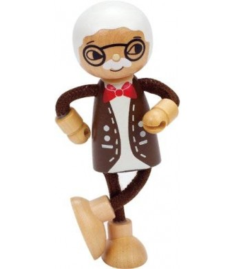 Hape Happy Family Poseable Wooden Grandfather Play Doll