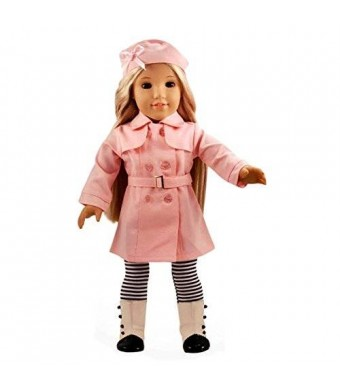 Ebuddy Pink Color Trench Coat 4pcs Set Include Hat Cloak Socks Belt Fits 18 Inch Girl Dolls