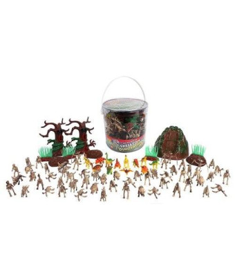 SCS Direct Dinosaur Skeleton Action Figures - Big Bucket of Skeleton Dinosaurs - Huge 75+ Piece Set Full of Fossil Fun