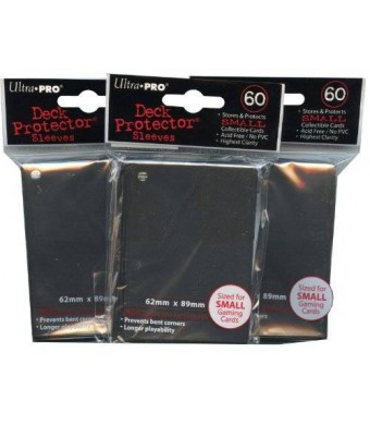 Ultra Pro Card Supplies YuGiOh Sized Deck Protector Sleeves Black 60 Count x3