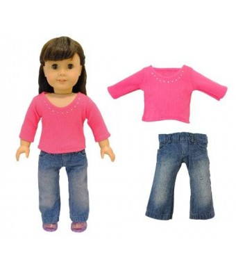 Pink Butterfly Closet Doll Clothes - 2 Piece Doll Clothing Set Fashion Jeans and Long Sleeve Shirt Fits American Girl Doll