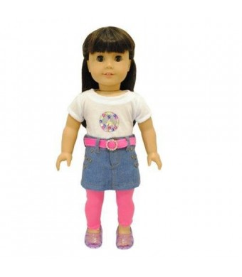 Pink Butterfly Closet Doll Clothes - 4 Piece Clothing Set : Leggins