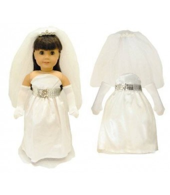 """Pink Butterfly Closet Doll Clothes - White Bridal and Communion Dress fits American Girl Dolls, Madame Alexander and Other 18"""" Dolls"""