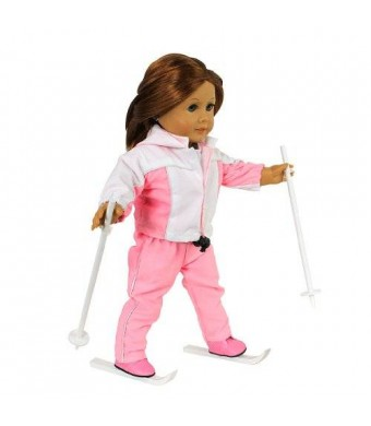 """Doll Clothes for 18"""" Dolls: 6 Piece """"Ready to Ski"""" Skiing Outfit - By """"Dress Along Dolly"""" (Includes Shirt"""
