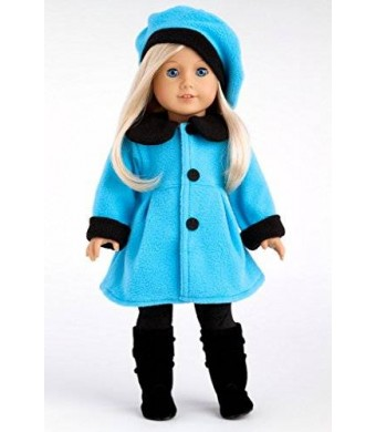 DreamWorld Collections Parisian Stroll - Blue fleece coat with matching beret, black leggings and boots - 18 Inch American Girl Doll Clothes
