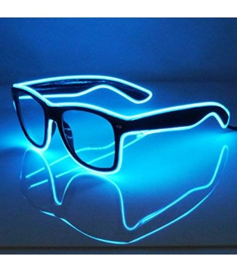 Electric Styles JEBSENS - Light Up El Wire Sunglasses Black Frame with Clear Lens (Blue)