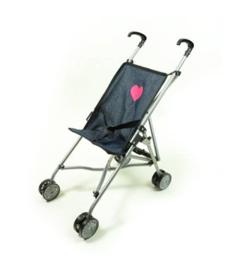 The New York Doll Collection My First Umbrella Doll Stroller in Denim for Toddler
