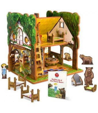 STORYTIME TOYS Goldilocks and the Three Bears Toy House and Storybook Playset