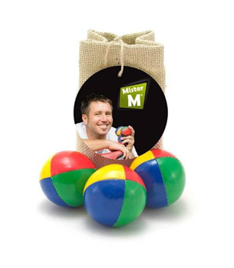 MrM Products 3 Quality Juggling Balls + Burlap Bag + FREE online Instructional Video by MisterM