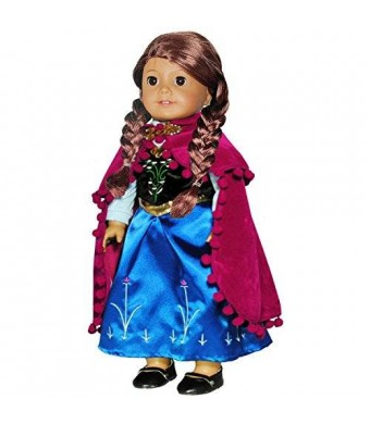 Doll Clothes - Princess Anna Dress Outfit WITH EMBROIDERED DETAILS Fits American Girl Doll, My Life Doll, Our Generation and other 18 inch Dolls