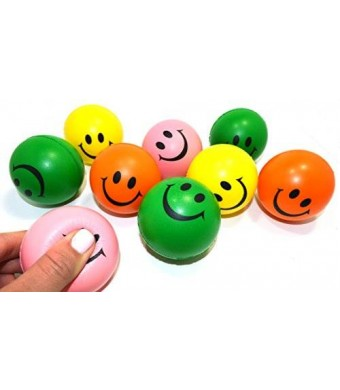 Dazzling Toys Neon Smile Face Relaxable Squeeze Balls (1 Dz) Assorted Colors