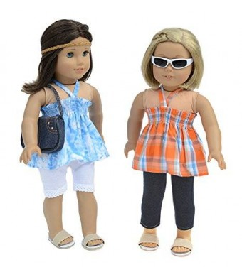 Doll Club of America 7 Pc. Casual Outfit Set Fits 18 Inch Doll Clothes Includes - 2 Pants, 2 Tops, Headband, and Pocketbook