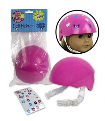 Dress Along Dolly Doll Bike Helmet - Pink Bike Helmet with Easy Strap and Decorate Yourself Decals - Fits American Girl
