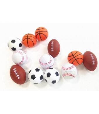 Dazzling Toys Set of 12 Sports Balls for Kids - Soccer Ball, Basketball, Football, Tennis Ball (1 Dozen)