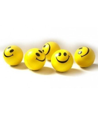 Dazzling Toys Happy Smile Face Stress Ball - Pack of 24 - Neon Smile Face Relaxable Squeeze Balls in Yellow Color