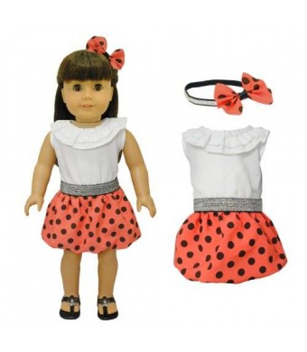 Doll Clothes - Red Polka Dots Dress with Head Band Set Fits American Girl Doll, My Life Doll, Our Generation and other 18 inch Dolls