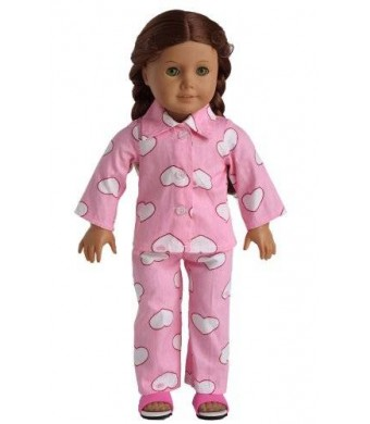 sweet dolly Doll Clothes 2pc Pink Sleepwear Pajamas Fits 18 Inches American Girl Dolls