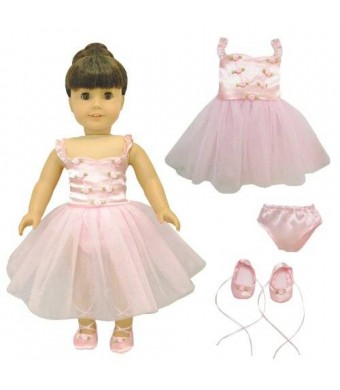 Pink Butterfly Closet Doll Clothes - Ballet Ballerina Dance Dress Clothes Fits American Girl Dolls, Madame Alexander and other 18 inches Dolls
