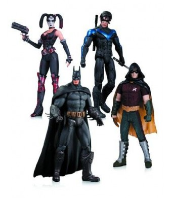 DC Collectibles Arkham City: Harley Quinn, Batman, Nightwing, and Robin Action Figure 4-Pack