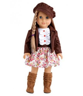 DreamWorld Collections Urban Explorer - Brown Motorcycle Jacket with Paperboy Hat, Dress and Boots - 18 Inch American Girl Doll Clothes