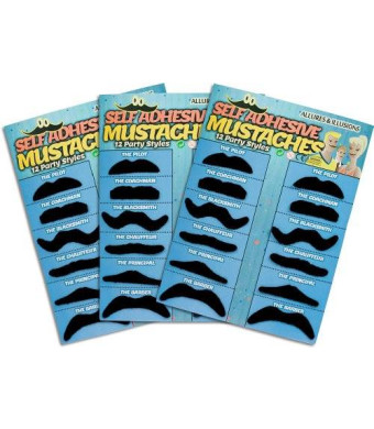 Allures & Illusions 36 Pack Fake Mustache Mustaches Novelty and Toy 36pk - Black By Allures and Illusions