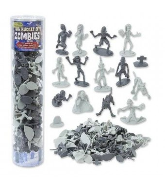 SCS Direct Zombie Action Figures - Big Bucket of 100 Zombies - Includes Zombies, Pets, Graves, and Humans