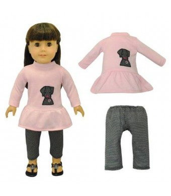 Pink Butterfly Closet Dolls Clothes - Pink Shirt With Embroidered Detail and Black Pants Outfit Fits American Girl Doll