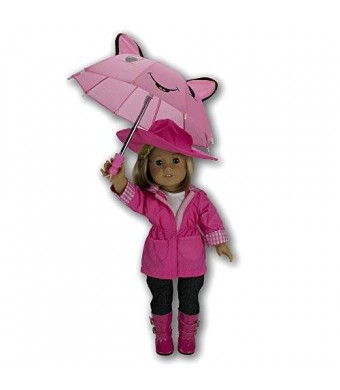 Dress Along Dolly Doll Clothes for American Girl Dolls: 6 Piece Rain Outfit - Includes Rain Jacket, Umbrella, Boots, Hat, Pants, and Shirt