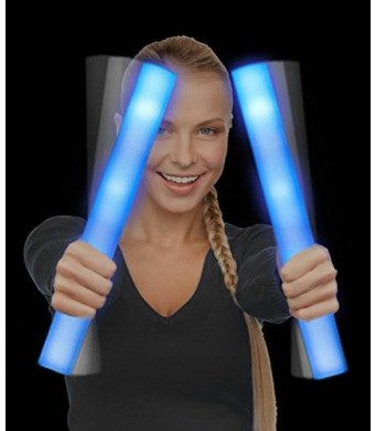 CoolGlow LED Foam Stick Baton Supreme - Blue - 12 Pack