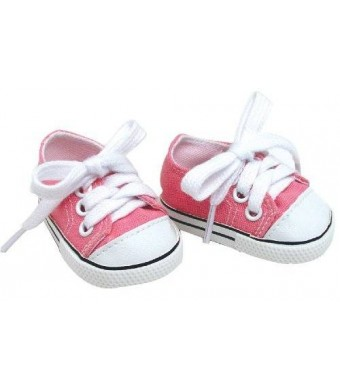18 Inch Pink Doll Shoes Made by Sophia's fit for American Girl Dolls, Pink Doll Sneakers