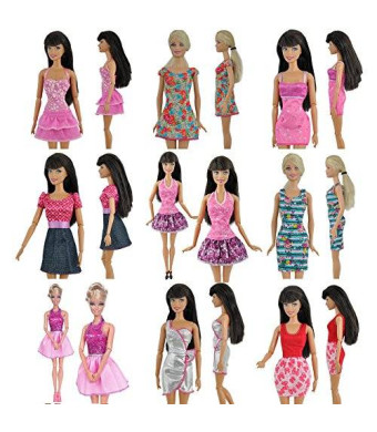Teenitor Yiding 5pcs Fashion Mini Dress For Barbie Doll Handmade Short Party Gown Clothes