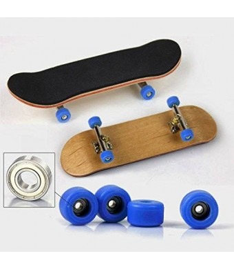 SDIT TOYS Maple Complete Wooden Fingerboard Metal Nuts Trucks - Basic Bearing Blue Wheel