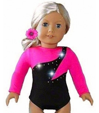 """Doll Connections NEW HIGH QUALITY HOT PINK Gymnastics Dance Cheer LEOTARD - fits American Girl 18"""" Doll Clothes"""