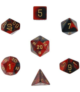 Chessex Manufacturing Polyhedral 7-Die Gemini Dice Set: Black and Red with Gold (d4, d6, d8, d10, d12, d20 and d00) CHX-26433