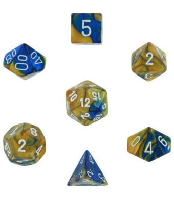 Chessex Polyhedral 7-Die Gemini Dice Set - Blue and Gold w/White (d4, d6, d8, d10, d12, d20 and d00) CHX-26422